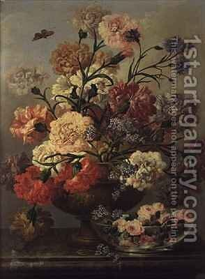 Carnations and forget me nots with roses in a glass bowl by Johann Baptist Drechsler - Reproduction Oil Painting