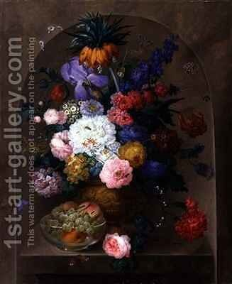 Still Life of Fruit and Flowers by Johann Baptist Drechsler - Reproduction Oil Painting