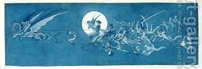 The dragon chariot and fairy minstrels cross the moon by Charles Altamont Doyle - Reproduction Oil Painting