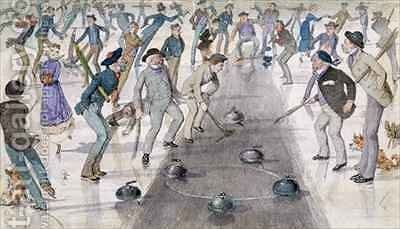 Curling Match on Duddingston Loch by Charles Altamont Doyle - Reproduction Oil Painting