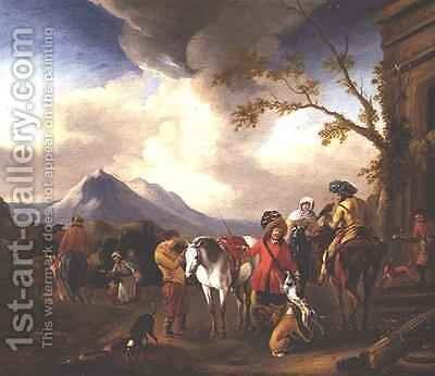 The Departure for the Hunt by Simon Johannes van Douw - Reproduction Oil Painting