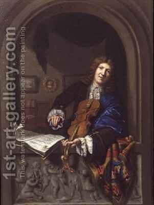 Portrait of a Man Playing the Violin by Jan Frans Douven - Reproduction Oil Painting