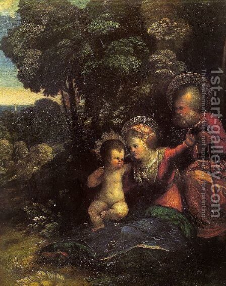 Rest During the Flight into Egypt by Dosso Dossi (Giovanni di Niccolo Luteri) - Reproduction Oil Painting