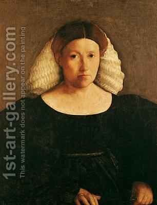 Portrait of a Woman with a White Hairnet by Dosso Dossi (Giovanni di Niccolo Luteri) - Reproduction Oil Painting