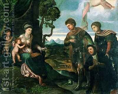 Madonna and Child with John the Baptist and other Saints by Dosso Dossi (Giovanni di Niccolo Luteri) - Reproduction Oil Painting