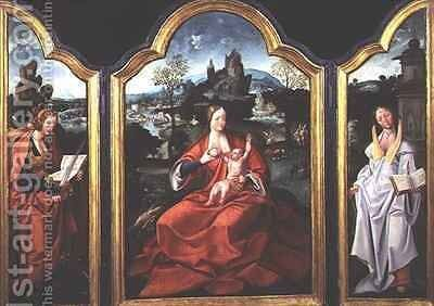 The Rest on the Flight into Egypt with St Catherine of Alexandria and St Barbara by Jan van Doornik - Reproduction Oil Painting