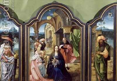 The Adoration of the Kings the Two Wings Depicting Melchior and the Negro King Balthazzar and the Central Panel Caspar by Jan van Doornik - Reproduction Oil Painting