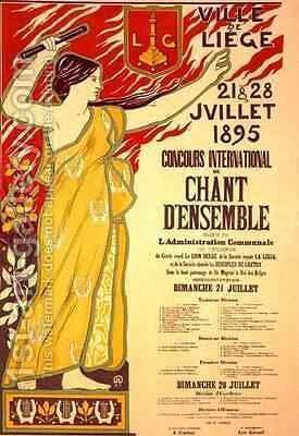 Reproduction of a poster advertising the Concours international de Chant densemble Liege Belgium by J.M. Donne - Reproduction Oil Painting