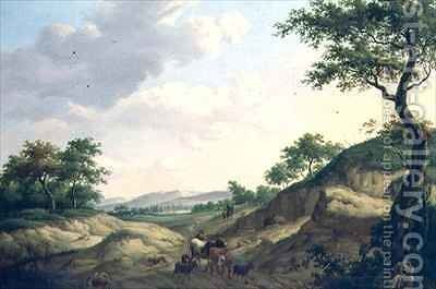 A wooded landscape with herdsmen and animals on a rock by Dionys van Dongen - Reproduction Oil Painting