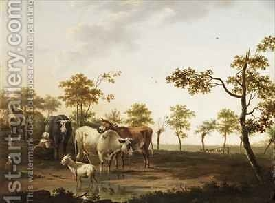Cows and Goats in the Countryside by Dionys van Dongen - Reproduction Oil Painting