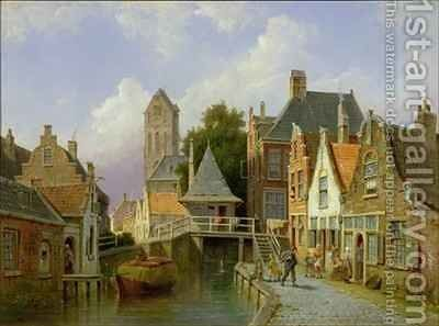 Canal Scene in Holland by Cornelis Christiaan Dommelshuizen - Reproduction Oil Painting