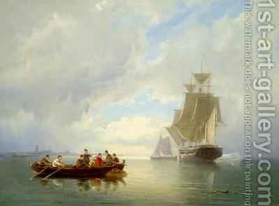 A Ship Becalmed and a Rowing Boat by Cornelis Christiaan Dommelshuizen - Reproduction Oil Painting