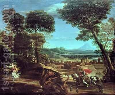 Landscape with St George and the Dragon by Domenichino (Domenico Zampieri) - Reproduction Oil Painting
