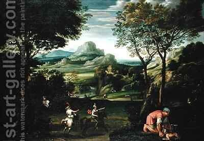 Landscape with Boats or Landscape with Hunting Scene by Domenichino (Domenico Zampieri) - Reproduction Oil Painting