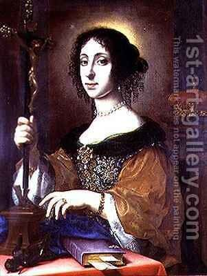 Portrait of Claudia Felicita Wife of Leopold I of Austria by Carlo Dolci - Reproduction Oil Painting
