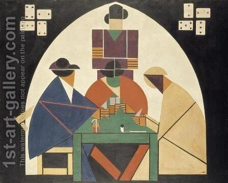 The Card Players by Theo van Doesburg - Reproduction Oil Painting