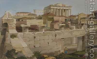 View of the Parthenon from the Propylaea by (after) Dodwell, Edward - Reproduction Oil Painting