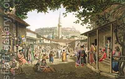 A Bazaar in Athens by (after) Dodwell, Edward - Reproduction Oil Painting