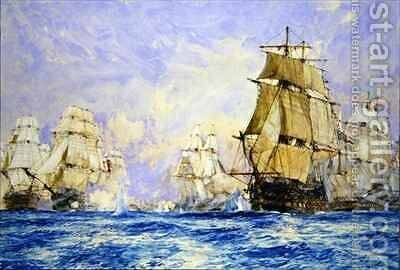 The Blockade of Toulon the Action off Bandol in 1810 by Charles Edward Dixon - Reproduction Oil Painting