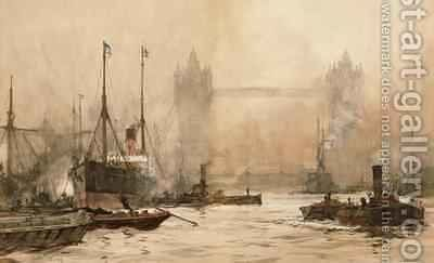 Tower Bridge from Cherry Garden Pier by Charles Edward Dixon - Reproduction Oil Painting