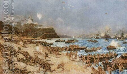 The Landing at Anzac by Charles Edward Dixon - Reproduction Oil Painting