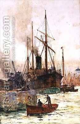 Discharging Coal by Charles Edward Dixon - Reproduction Oil Painting