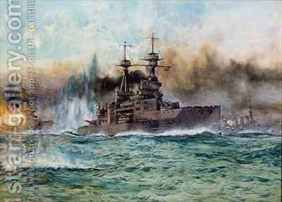 HMS Vanguard at The Battle of Jutland by Charles Edward Dixon - Reproduction Oil Painting