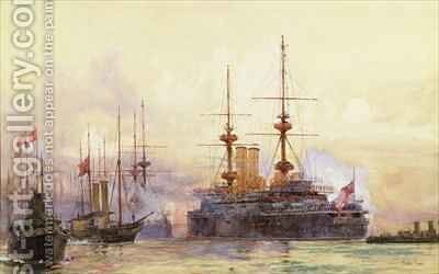 The Prince George at Spithead The Naval Requiem of Queen Victoria by Charles Edward Dixon - Reproduction Oil Painting