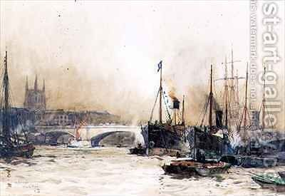 Off Billingsgate by Charles Edward Dixon - Reproduction Oil Painting