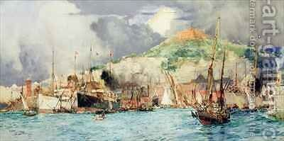 Shipping in Naples by Charles Edward Dixon - Reproduction Oil Painting