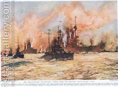 The Battle Cruiser Indomitable towing home the wounded Battle Cruiser Lion by Charles Edward Dixon - Reproduction Oil Painting