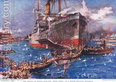 The Landing of troops from the River Clyde at V Beach Galipolli Peninsula by Charles Edward Dixon - Reproduction Oil Painting