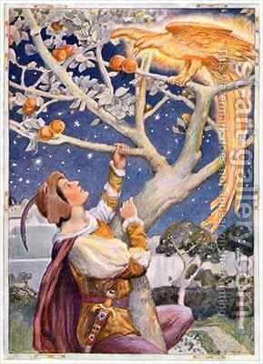The Glowing Bird was Plucking the Golden Apples by Arthur A. Dixon - Reproduction Oil Painting