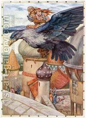 The Old Man was transformed into a blue winged eagle by Arthur A. Dixon - Reproduction Oil Painting