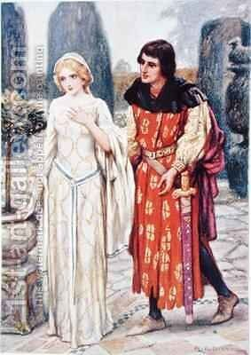 Sir Lancelot and Elaine by Arthur A. Dixon - Reproduction Oil Painting