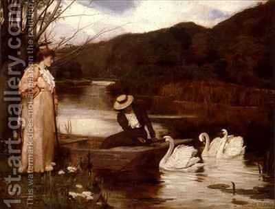 Feeding the Swans by Arthur A. Dixon - Reproduction Oil Painting