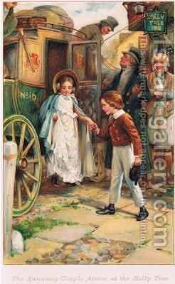 The Runaway Couple arrive at the Holly Tree by Arthur A. Dixon - Reproduction Oil Painting