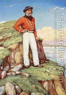 Giuseppe Garibaldi on a cliff ledge on the island of Caprera gazing out towards Italy by Arthur A. Dixon - Reproduction Oil Painting