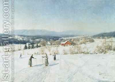 Landscape with Skiers by Carl-Edvard Diriks - Reproduction Oil Painting