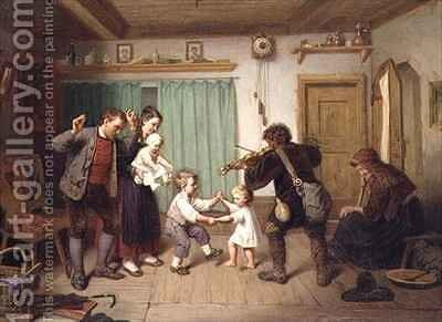 Dancing to the fiddle by Auguste Dircks - Reproduction Oil Painting