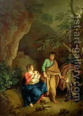 Rest on the Flight into Egypt by Christian Wilhelm Ernst Dietrich - Reproduction Oil Painting