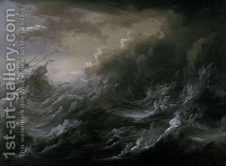 Sea storm and shipwreck 2 by Christian Wilhelm Ernst Dietrich - Reproduction Oil Painting