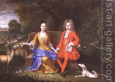 Portrait of Sir Charles Shuckburgh and his wife Diana with Shuckburgh Hall Warwickshire in the background by Adriaen Van Diest - Reproduction Oil Painting