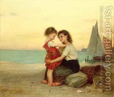 Sisters on the Beach by Anton Heinrich Dieffenbach - Reproduction Oil Painting