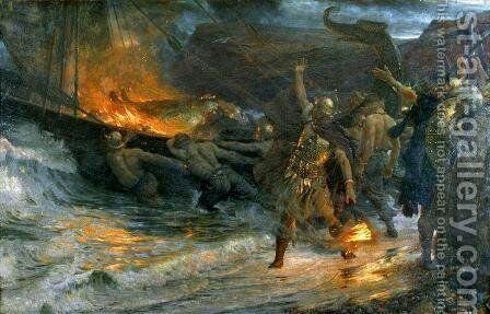The Funeral of a Viking 2 by Sir Frank Dicksee - Reproduction Oil Painting