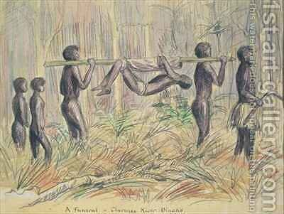 A Maori funeral Clarence River New Zealand by Charles William Hamilton Dicker - Reproduction Oil Painting