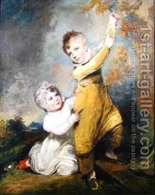 Portrait of a brother and sister by Arthur William Devis - Reproduction Oil Painting