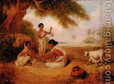 Grinding Corn by Arthur William Devis - Reproduction Oil Painting