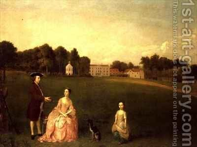 The Cropp Family of Shudy Camps Park Cambridge by Arthur Devis - Reproduction Oil Painting