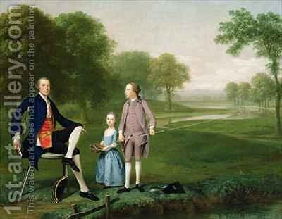 Richard Moretan Esq of Tackley with his nephew and niece John and Susanna Weyland by Arthur Devis - Reproduction Oil Painting